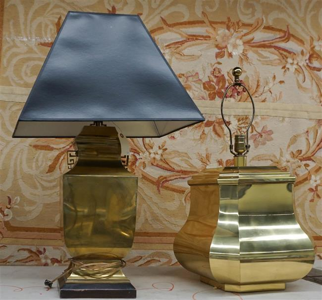 Two Brass Table Lamps, Height of taller: 32 in