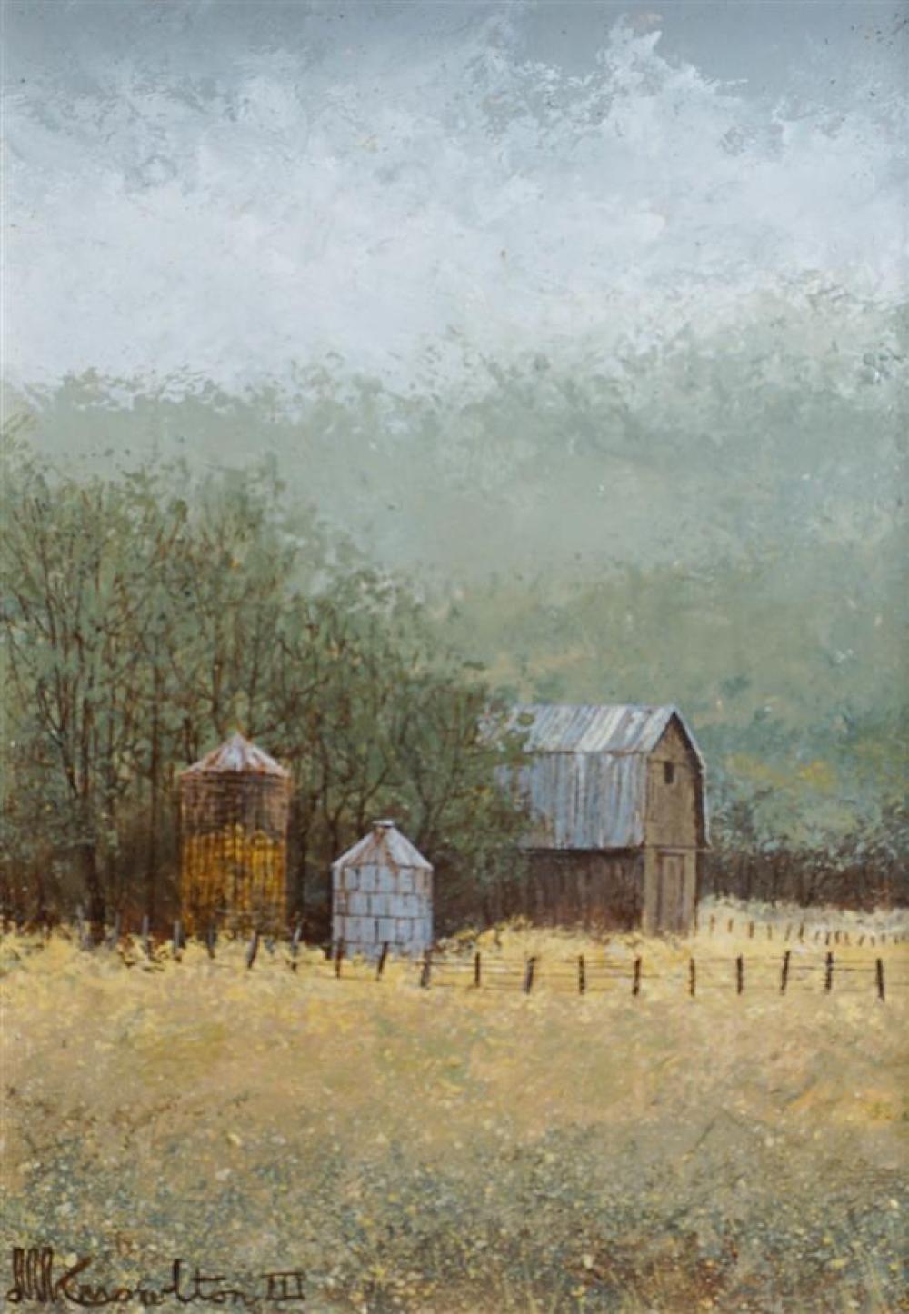 David Knowlton III (American b. 1941), Farm Landscape, Oil on Board, Framed, 11 x 9 inches