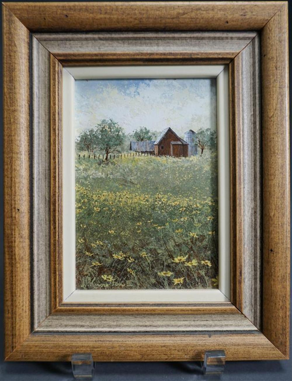 David Knowlton III (American b. 1941), Farm Landscape, Oil on Board, Framed, 9-3/4 x 7-3/4 inches