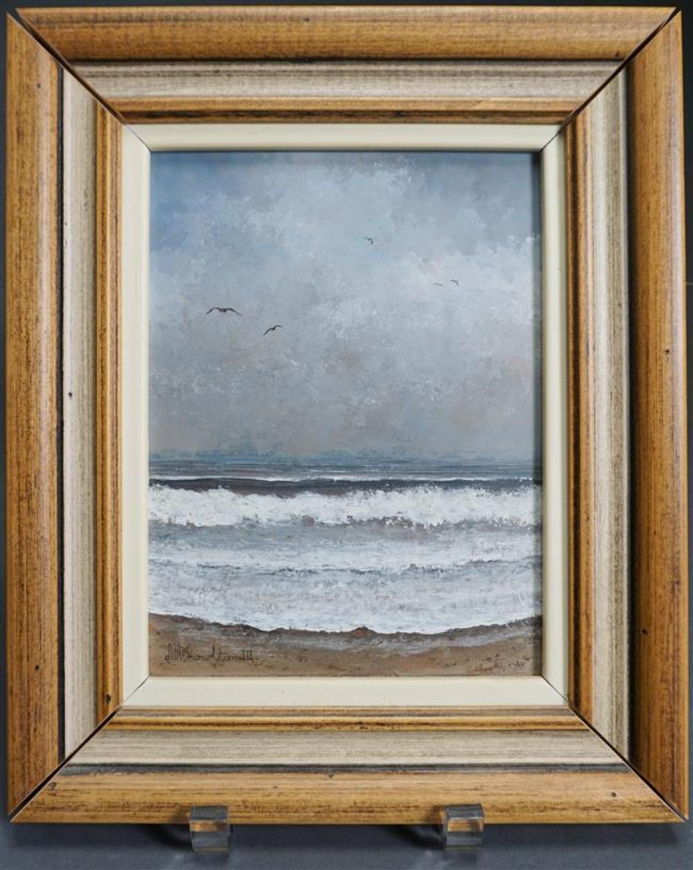 David Knowlton III (American b. 1941), Crashing Waves, Oil on Board (damage to frame), Framed 11-1/2 x 9-1/2 inches
