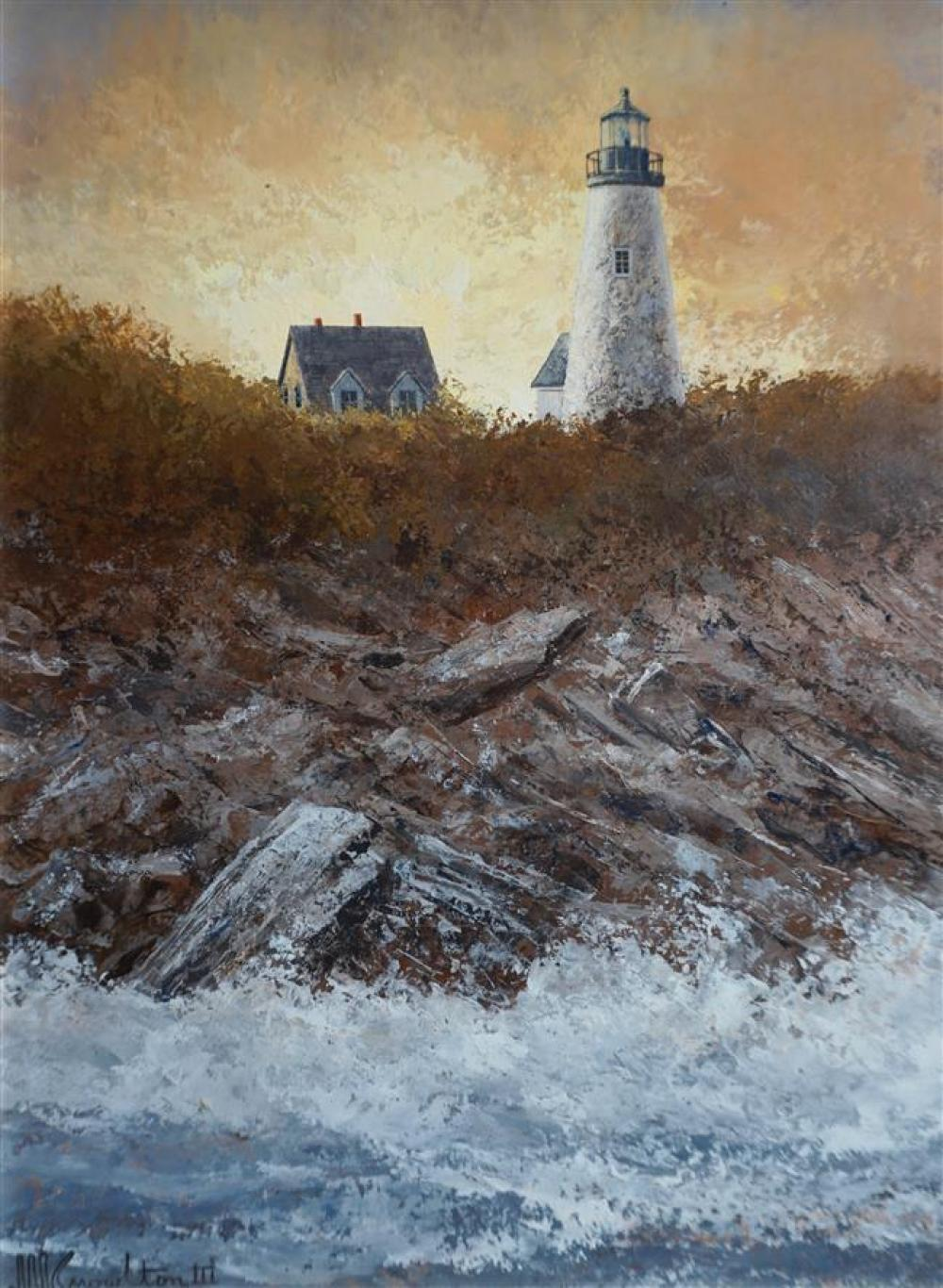 David Knowlton (American b. 1941), Lighthouse Over Crashing Waves, Oil on Board, Framed, 16-3/4 x 13-3/4 inches