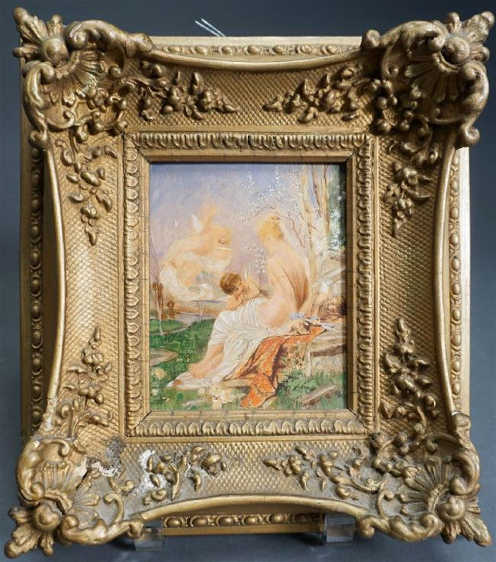 Italian School, Cupids and the Maiden, oil on Board, Framed, 9-1/2 x 8-1/2 inches