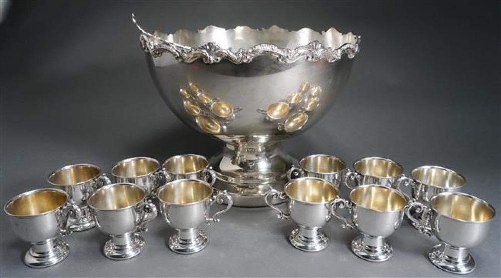 Silver Plate Punch Bowl with Two Ladles and Twelve Cups, H: 12-1/2; D: 16 inches