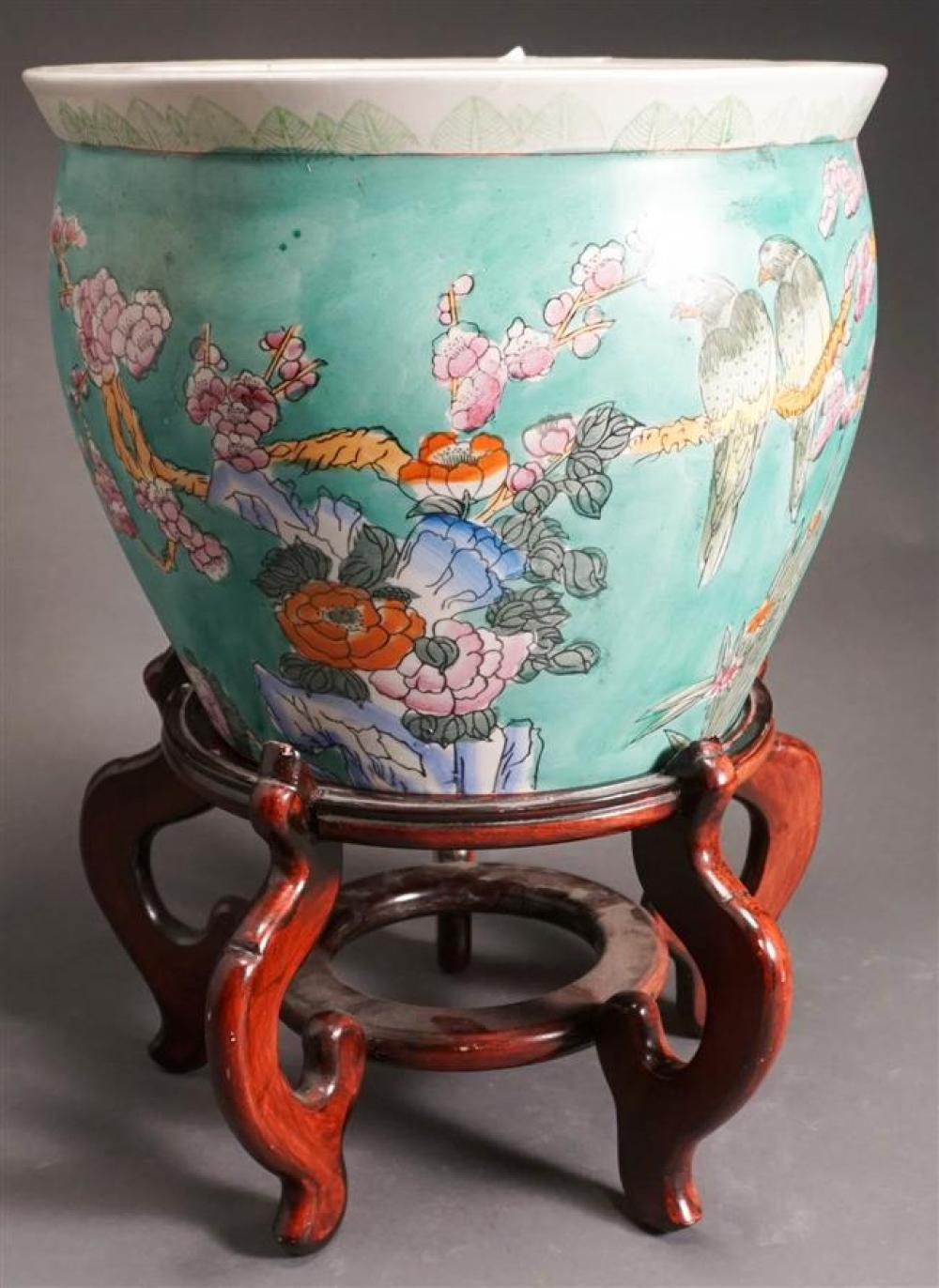 Chinese Bird and Flower Decorated Fish Bowl on Hardwood Stand, H: 11-1/4; D: 13-3/4 inches