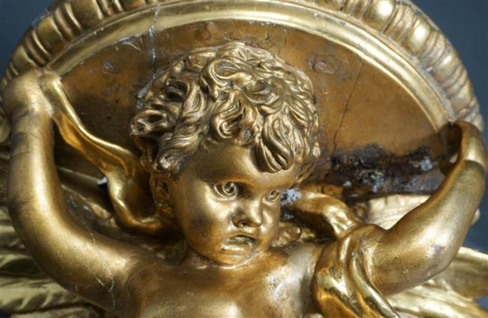 Italian Gilt Putti-Form Wall Bracket and Pair Wall Brackets, Larger: 19-1/2 x 15-3/4 in