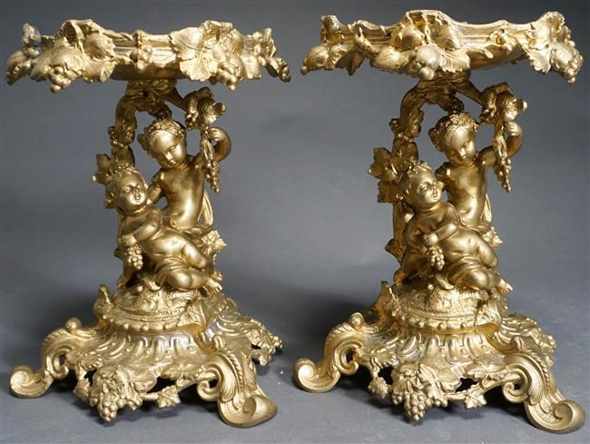 Pair Putti-Form Patinated Metal Compotes, H: 9-3/4 inches
