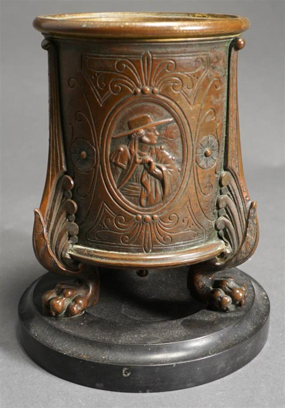 Neoclassical Style Bronze Tobacco Urn on Marble Plinth, H: 6-1/2 inches