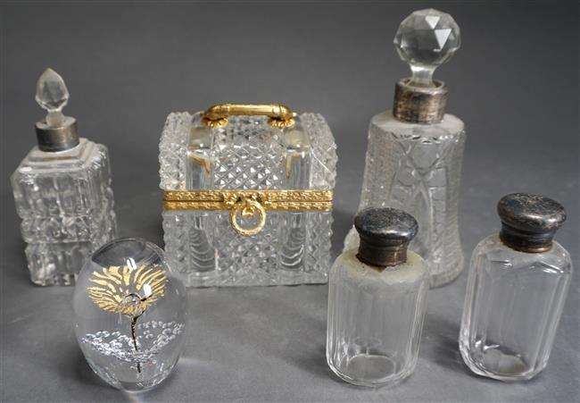 Four English Silver Mounted Crystal Perfumes, Brass Mounted Glass Hinged Box and Daum Paperweight