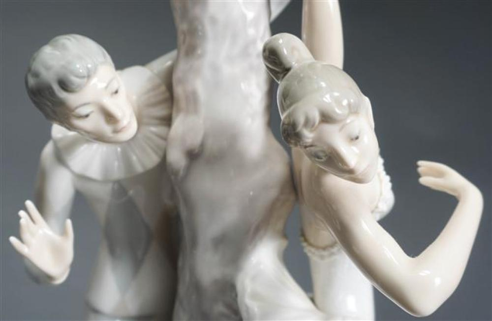 The Ballerina and The Jester, Lladro Porcelain Figural Table Lamp; Approximate Height: 15 Inches