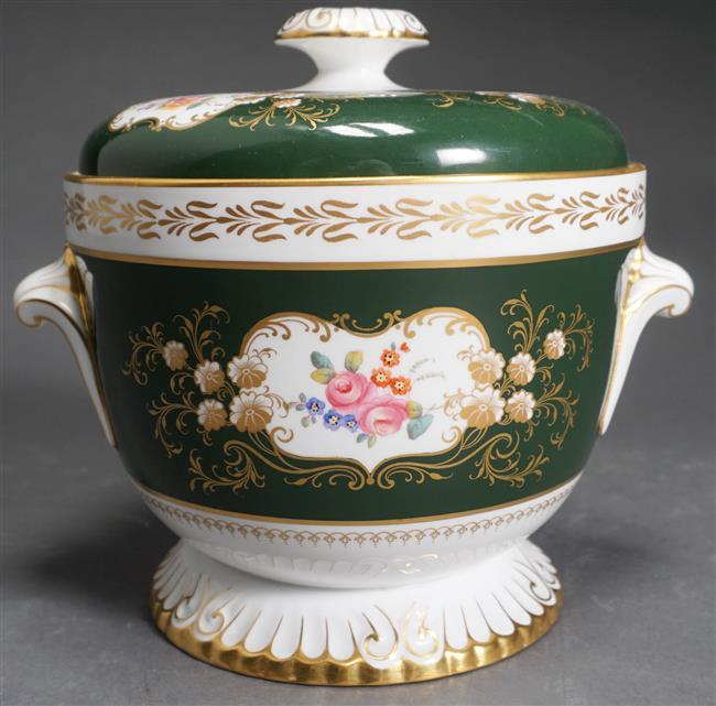 Spode Floral Gilt Decorated Porcelain Fruit Cooler, Height: 9 in