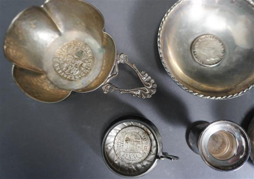 Group with Four Coin Mounted Porringers and Two Cups and Sterling Silver Toothpick Holder