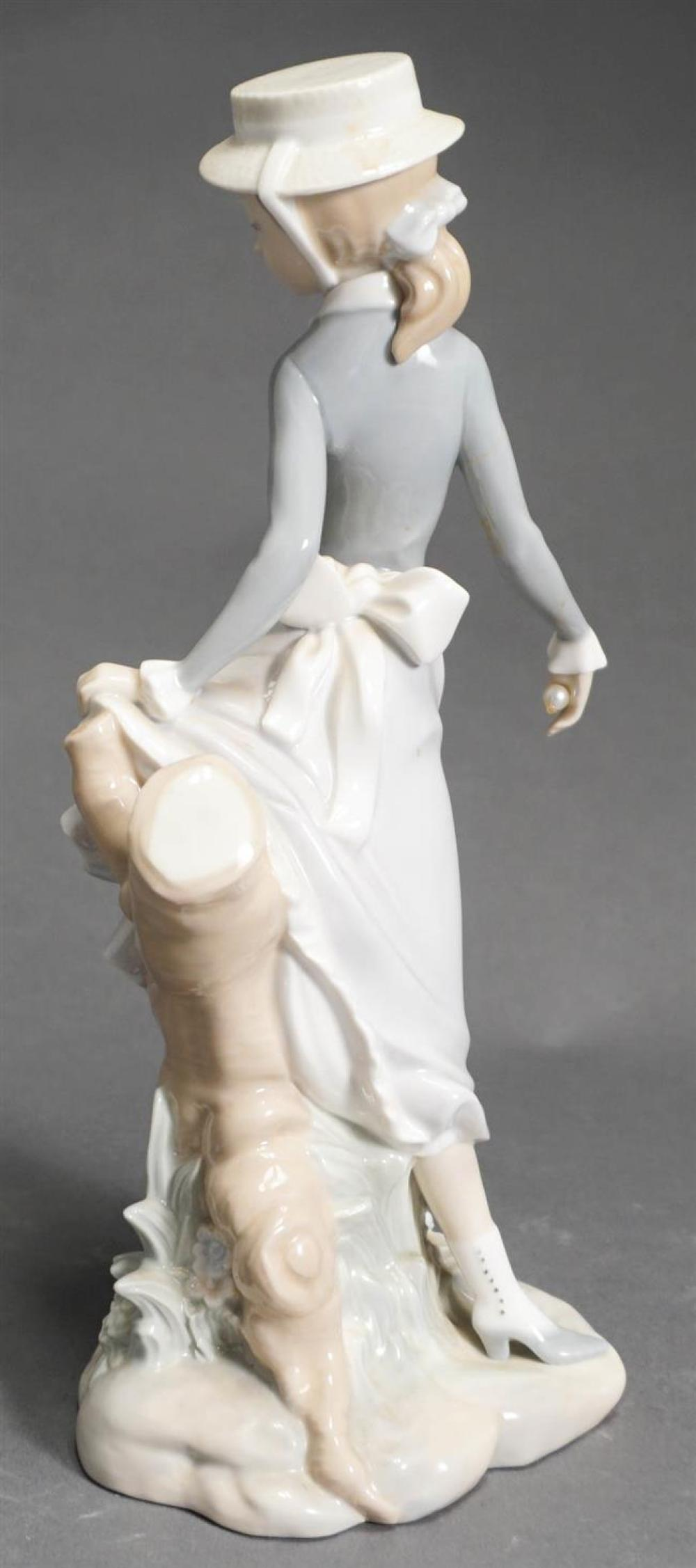 Lladro Porcelain Figure of Young Girl (missing umbrella), H: 11-1/2 inches