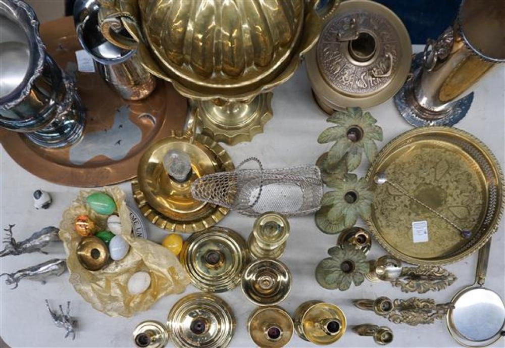 Group with Brass, Silver Plate and other Metal Candlesticks, Trays, Wine Cooler and other Table Articles