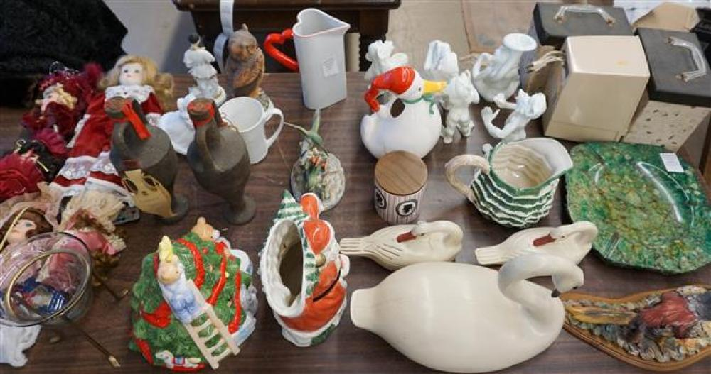 Group with Christmas Decorations, Five-Piece Monkey Band, Carved Wood Swans and other Table Articles