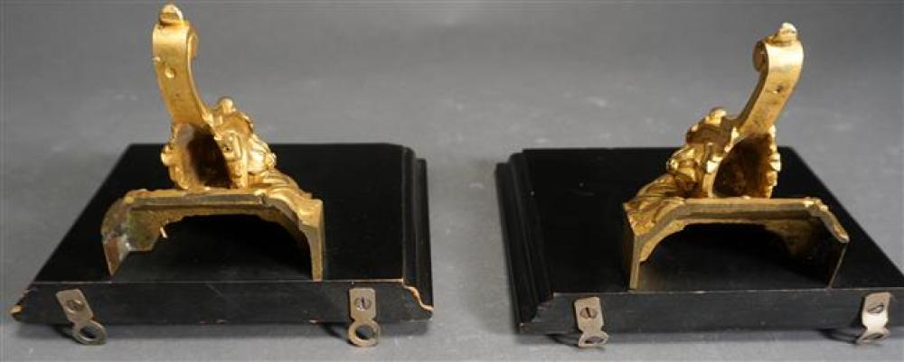 Pair Victorian Gilt Decorated Iron Wall Brackets