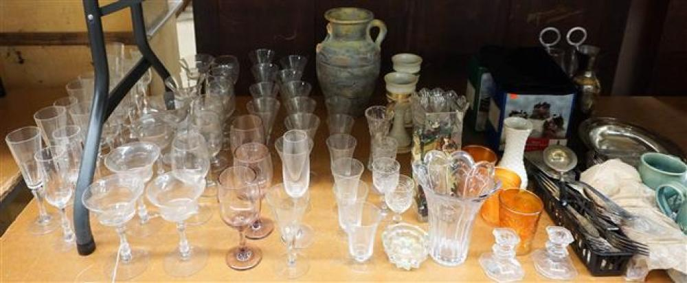 Group with Glass Stemware, Pottery, Brass Tray and Silver Plate Flatware