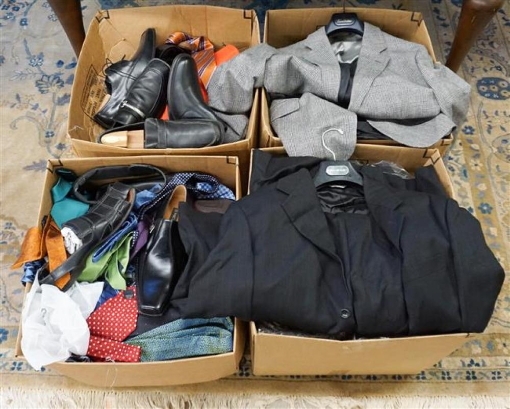 Four Boxes with Men's Clothing and Shoes
