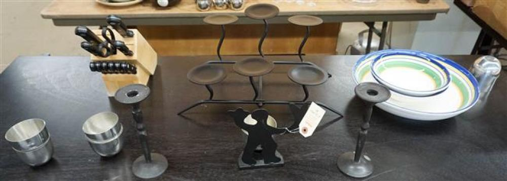 Three Ceramic Bowls, Metal Candlesticks, Pewter Cups and Cutlery Set
