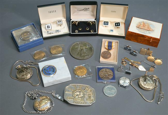 Collection of Medals, Gentleman's Dress Accessories and Costume Jewelry