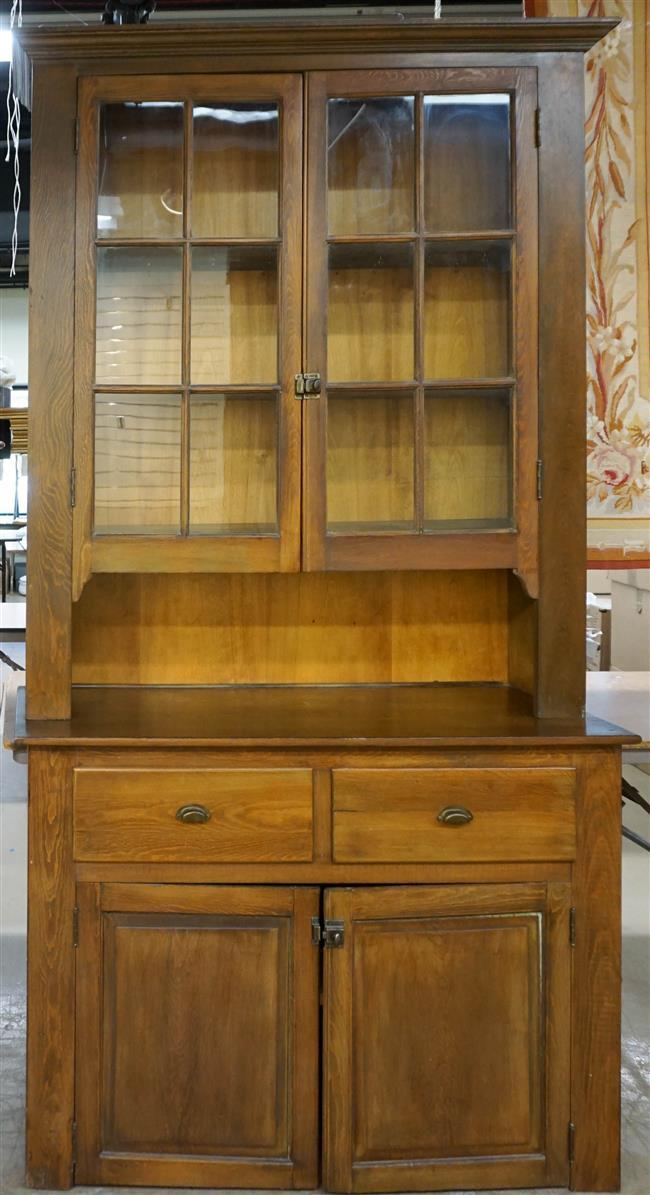 Pine Two-Part Cabinet, H: 94 in, W: 50-1/4 in, D: 17-1/4 in