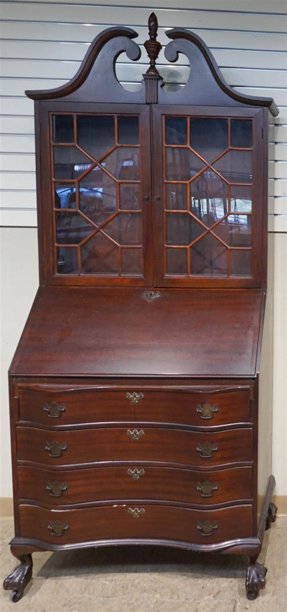 Chippendale Style Mahogany Slant-Front Secretary Bookcase, H: 83 in, W: 34-3/4 in, D: 17 in