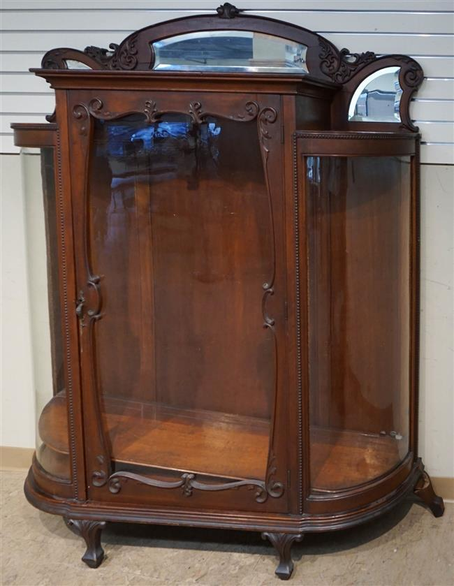 Victorian Style Mahogany Bow-Front China Cabinet, H: 71-1/2 in, W: 57 in, D: 17 in