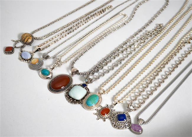 Collection with Ten Sterling Silver Stone Mounted Pendant Necklaces