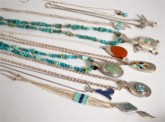 Collection with Ten Southwest Style Sterling Silver Stone Mounted Pendant Necklaces