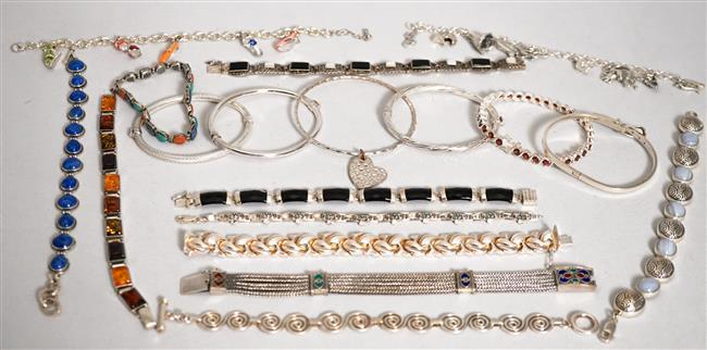 Collection with Eighteen Sterling Silver Stone Mounted Bracelets