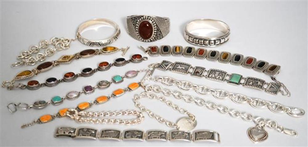 Collection with Fifteen Sterling Silver Stone Mounted Bracelets