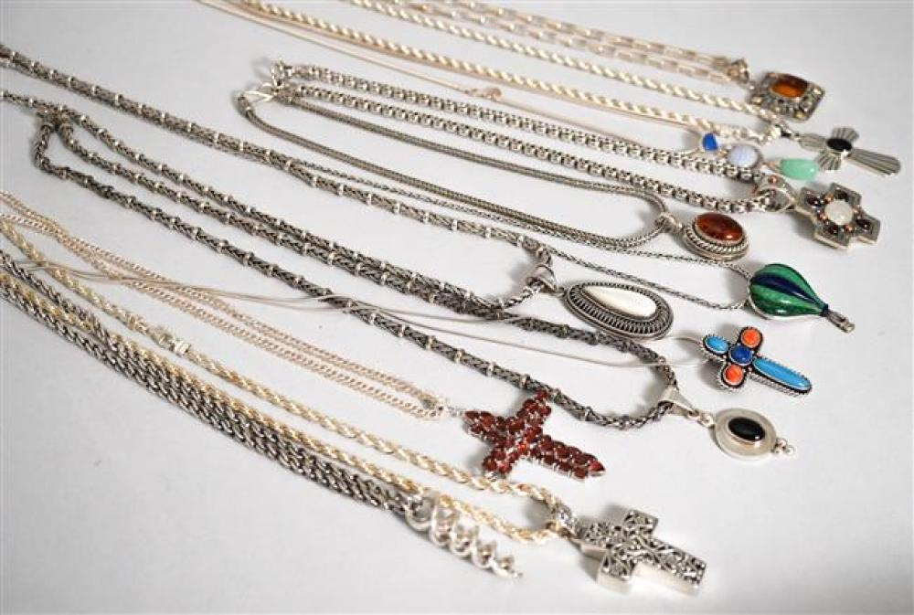Collection with Twelve Sterling Silver Stone Mounted Pendant Necklaces