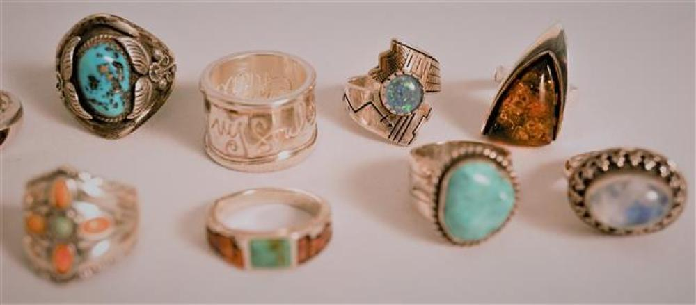 Collection with Fourteen Sterling Silver Stone Mounted Rings