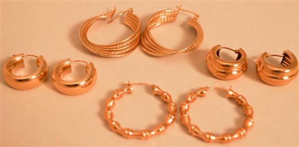 Four Pairs 14 Karat Yellow Gold Hoop Pierced Earrings, 8.2 dwt.
