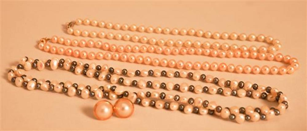 Collection with Three Pearl Necklace and Pair Yellow Gold Mabe Pearl Pierced Earrings