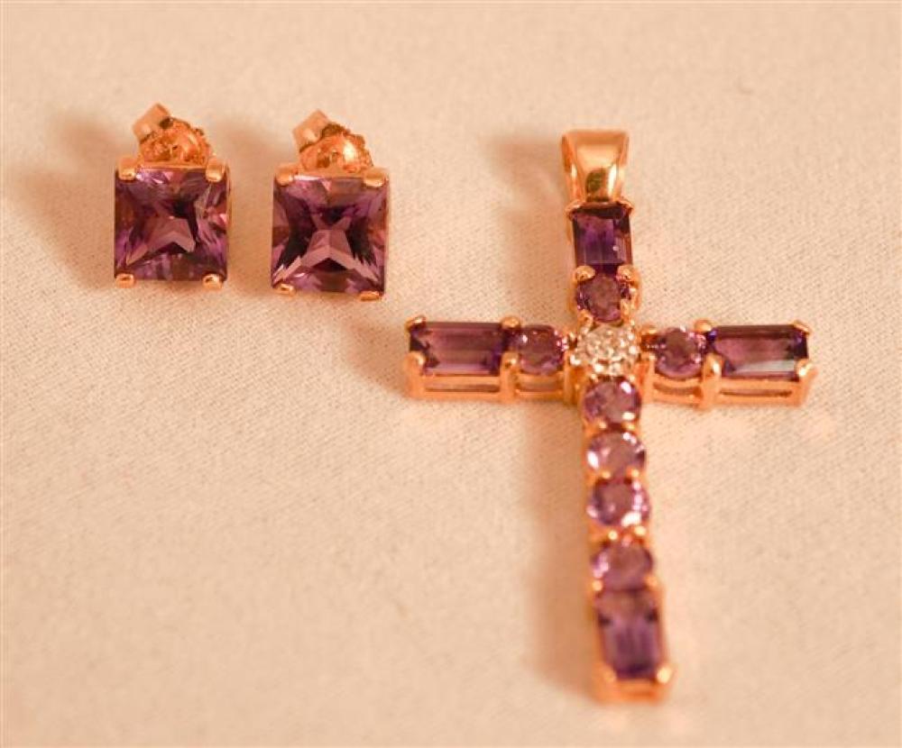 14 Karat Yellow Gold Amethyst 'Cross' Pendant and Pair 14 Karat Yellow Gold Amethyst Pierced Earrings