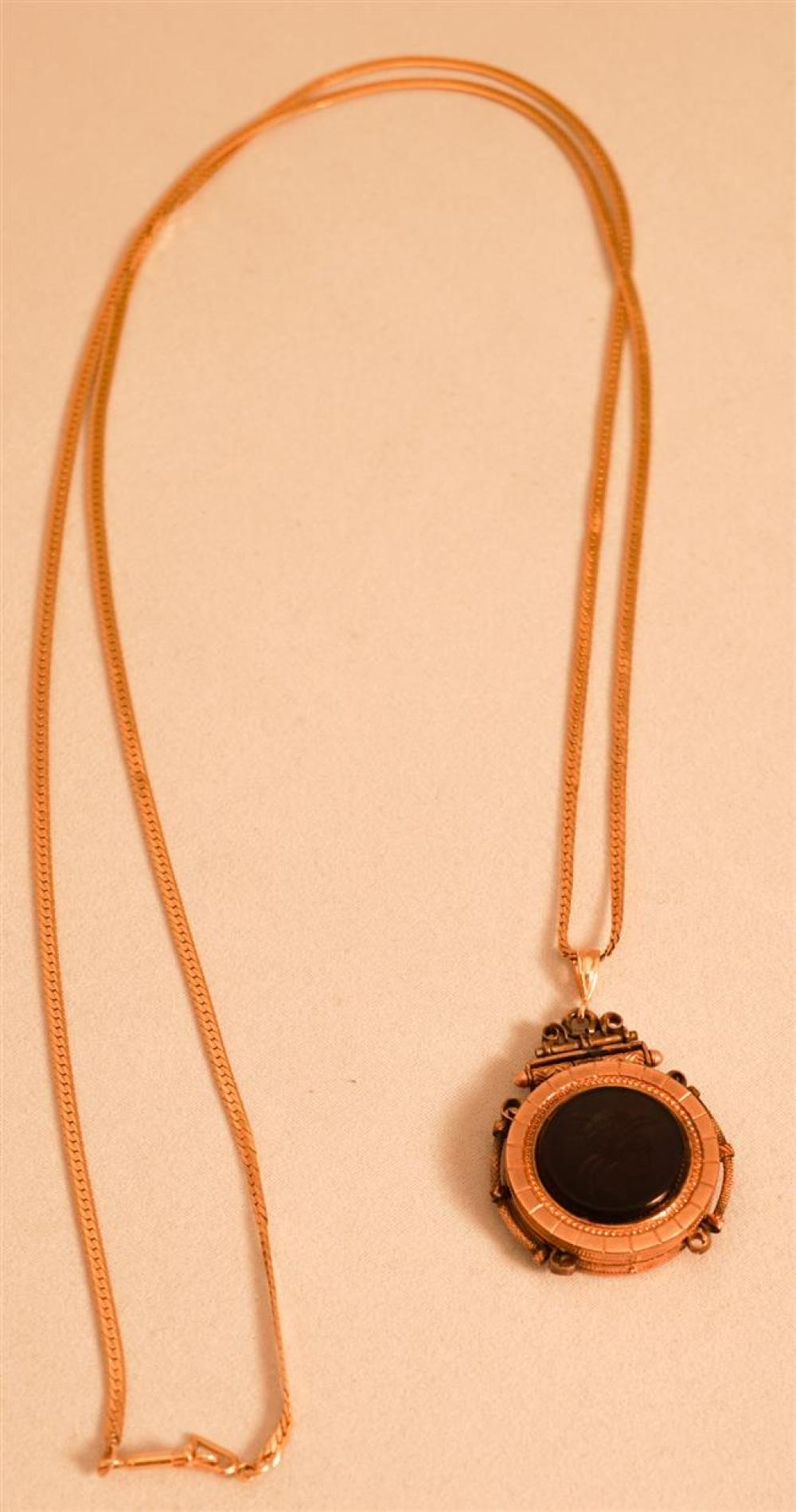 14 Karat Yellow Gold Necklace with Victorian Gold Filled Intaglio Black Onyx Pendant, 4.4 weighable dwt., Length of Chain: 30 in