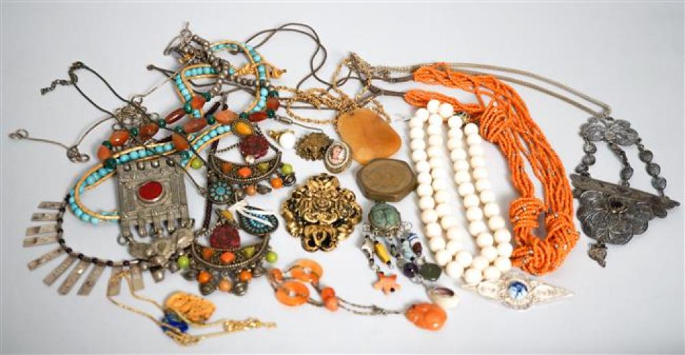 Collection with Vintage Southeast Asian Jewelry, White Brass Necklace and Coral Bead Necklace