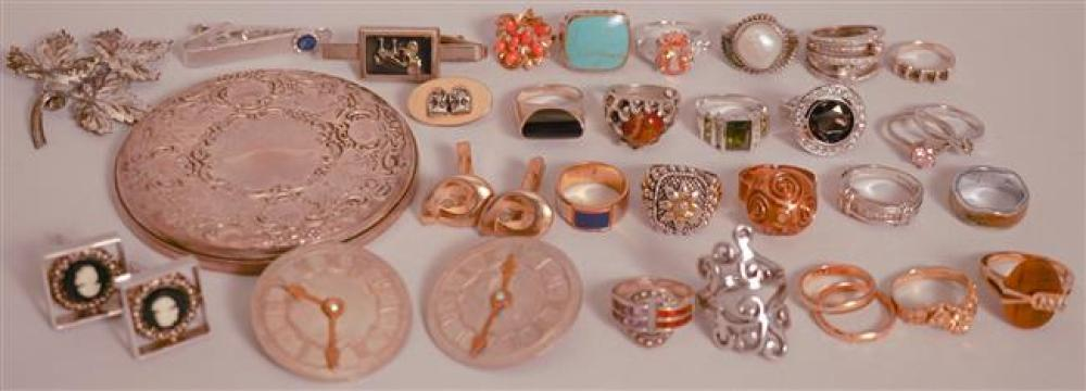 Collection with Twenty-Three Silver and Plate Rings, Pair Capo Bianco Earrings and Assorted Jewelry