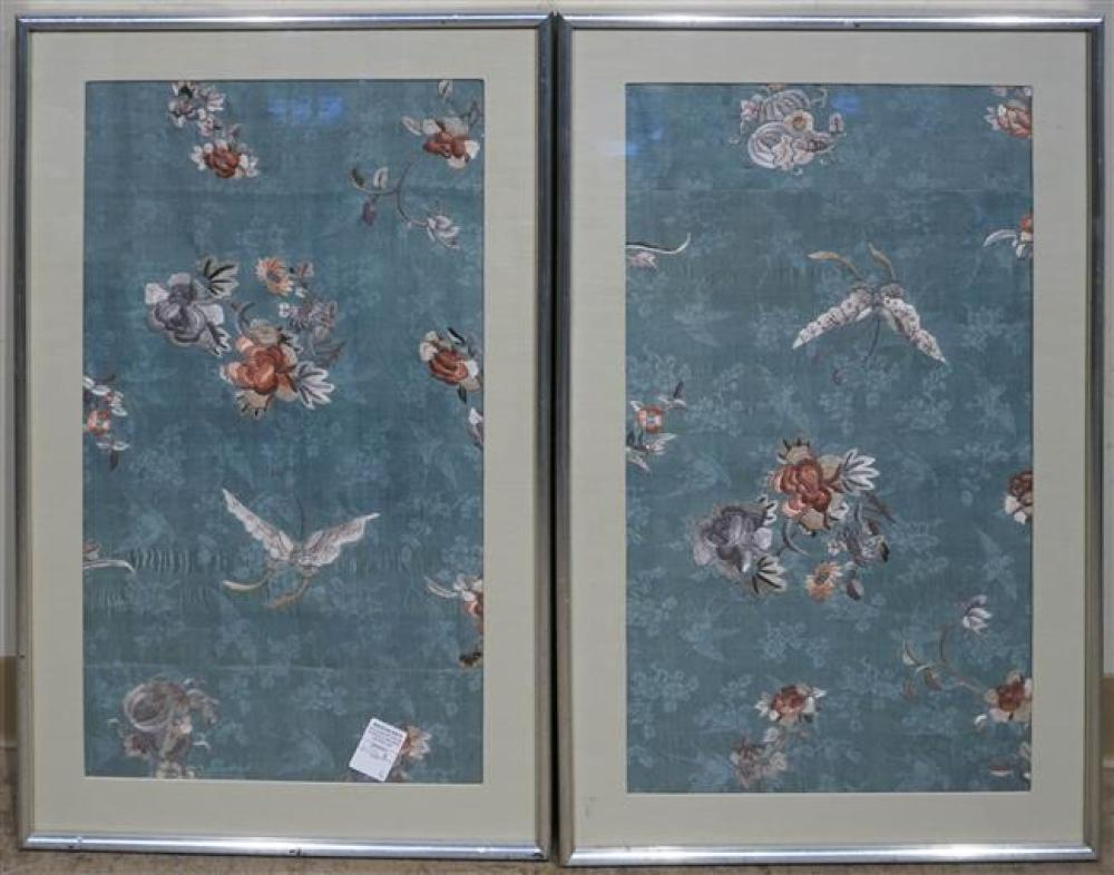 Pair Chinese Embroidered Silk Panels, Frame: 31 x 19 in