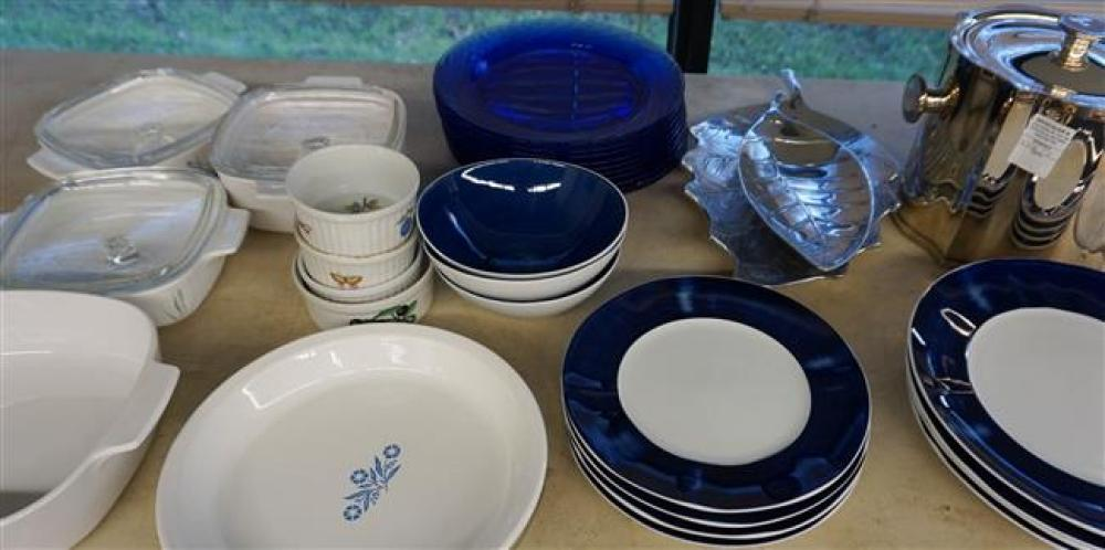 Silver Plate Ice Bucket, Ten Blue Glass Plates and Corning Ware