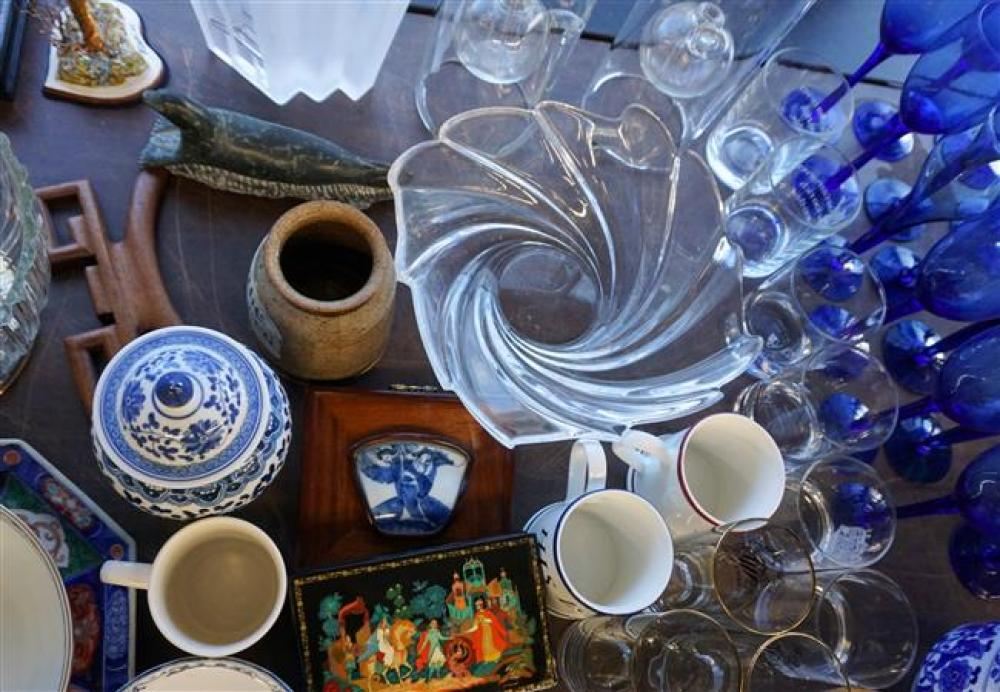 Two Russian Lacquer Boxes, Blue Glass Stem Wines, Enamel Bowls and Asian Porcelain
