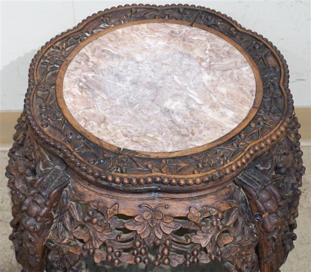 Chinese Carved Hardwood and Marble Inset Top Low Tabourette, Height: 16 in