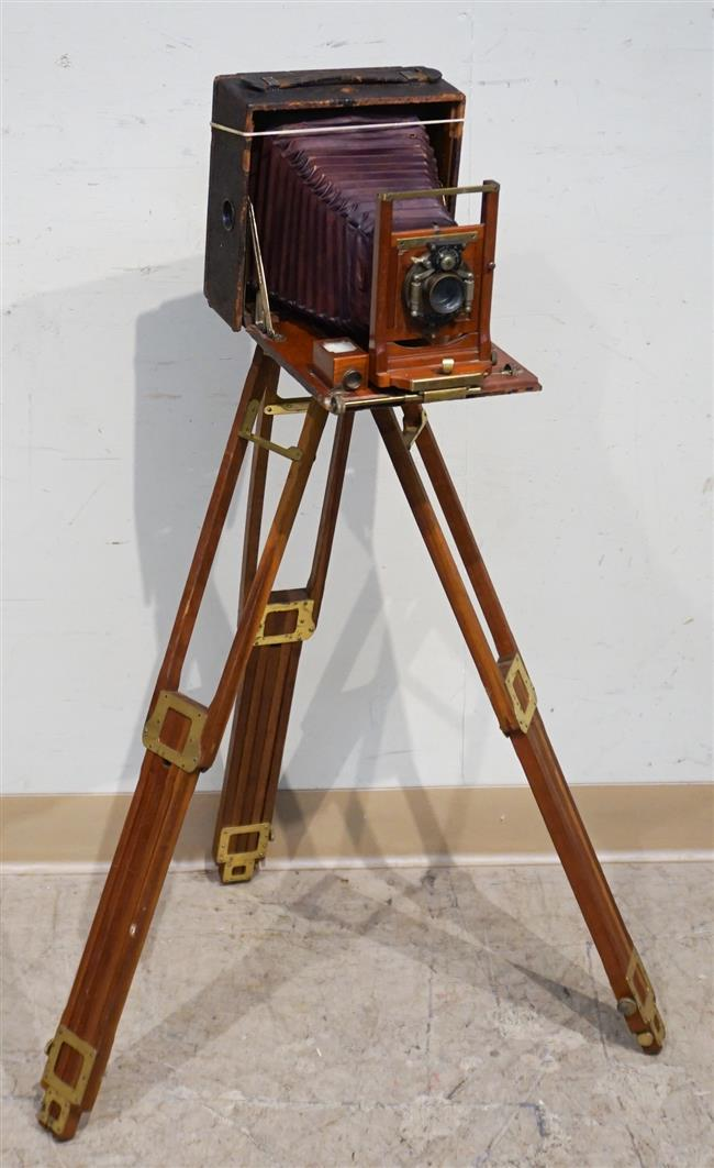 Rochester Optical Co 'Pony Premo No 6' Camera on Tripod; 39 Inches in Height
