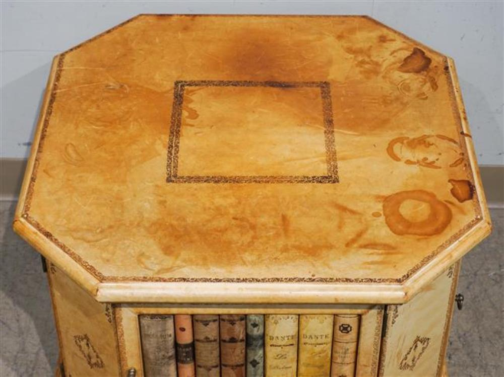 Tooled Leather Faux Book Decorated Side Table Cabinet; 18 x 23.5 x 23.5 HWD inches