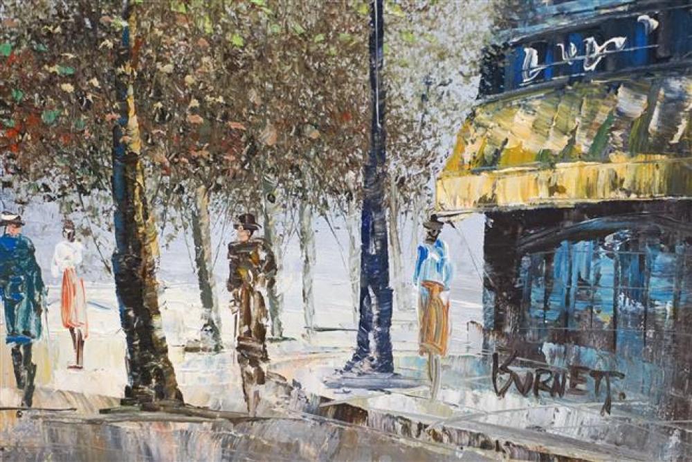 Burnett, Parisian Street Scenes, Pair of Acrylics on Canvas