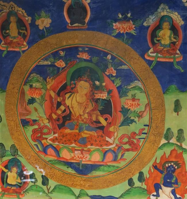 Tibetan Thanka, Frame: 24-3/4 x 23-1/4 in