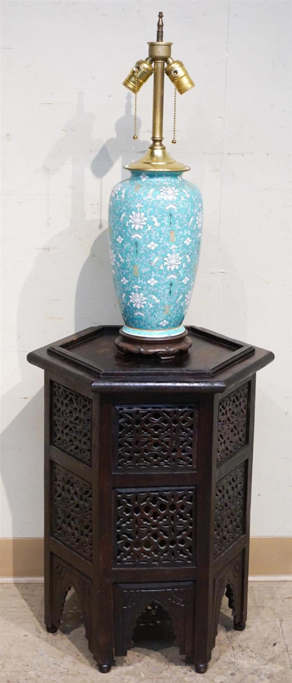 Chinese Turquoise Ground Porcelain Table Lamp with an Asian Pierced Wood Pedestal, Height of Lamp: 24 in; Height of Pedestal: 23 in