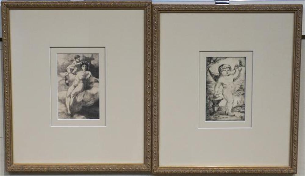 Figure with Cherub and Cherub Playing the Horn, Two Etchings, Frame: 12-1/2 x 10-3/4 in