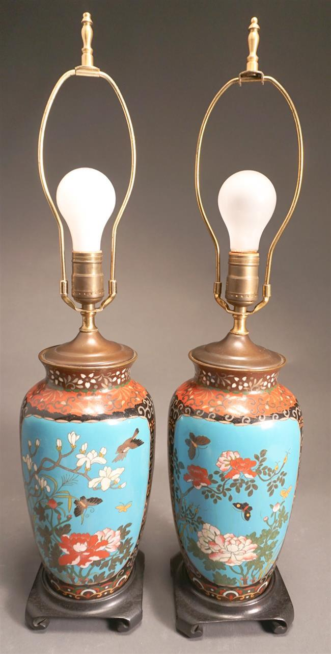 Pair of Japanese Cloissone Enamel Vases, Mounted as Lamps, Height overall: 25-1/2 in