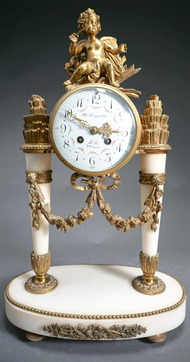 Au Lingot D'Or Louis XVI Style Brass and Alabaster Mantle Clock, Height: 20-1/4 in
